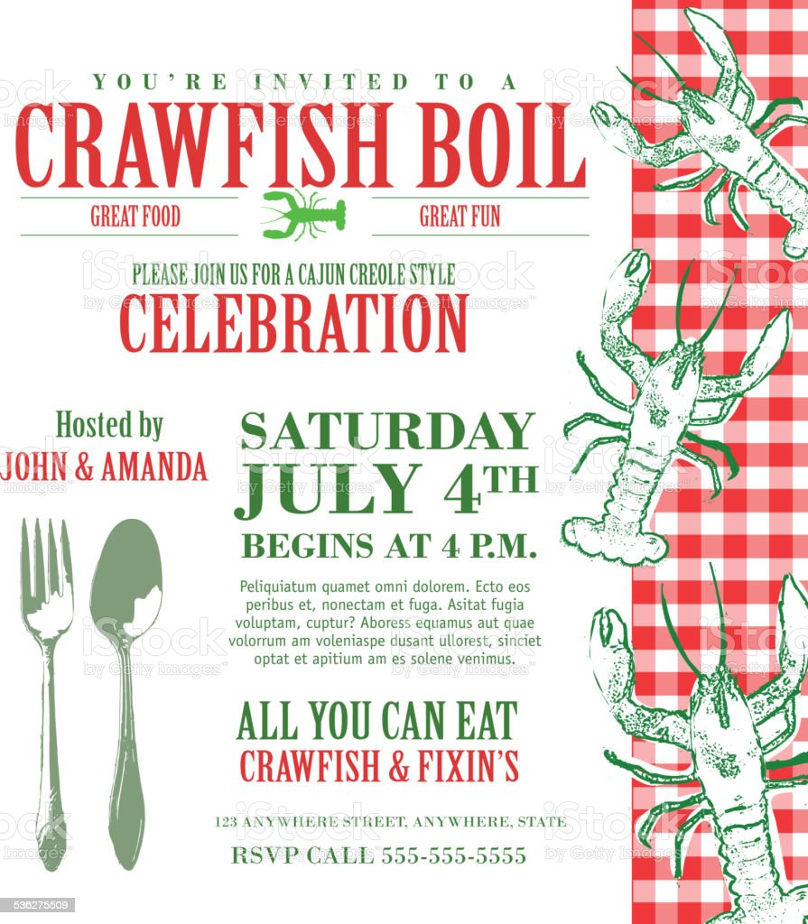 Crawfish Boil Invitation Design Template With Red Text Stock Vector