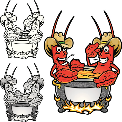 This is an illustration of a Crawfish Boil in cowboy hats. The illustration contains some blends but they are not complicated. The grayscale version also contains blends. Also included is a straight black and white. All secondary color levels are removable down to a simple flat color image. The file is provided as an Illustrator 8 EPS and a 300dpi high-rez jpg.