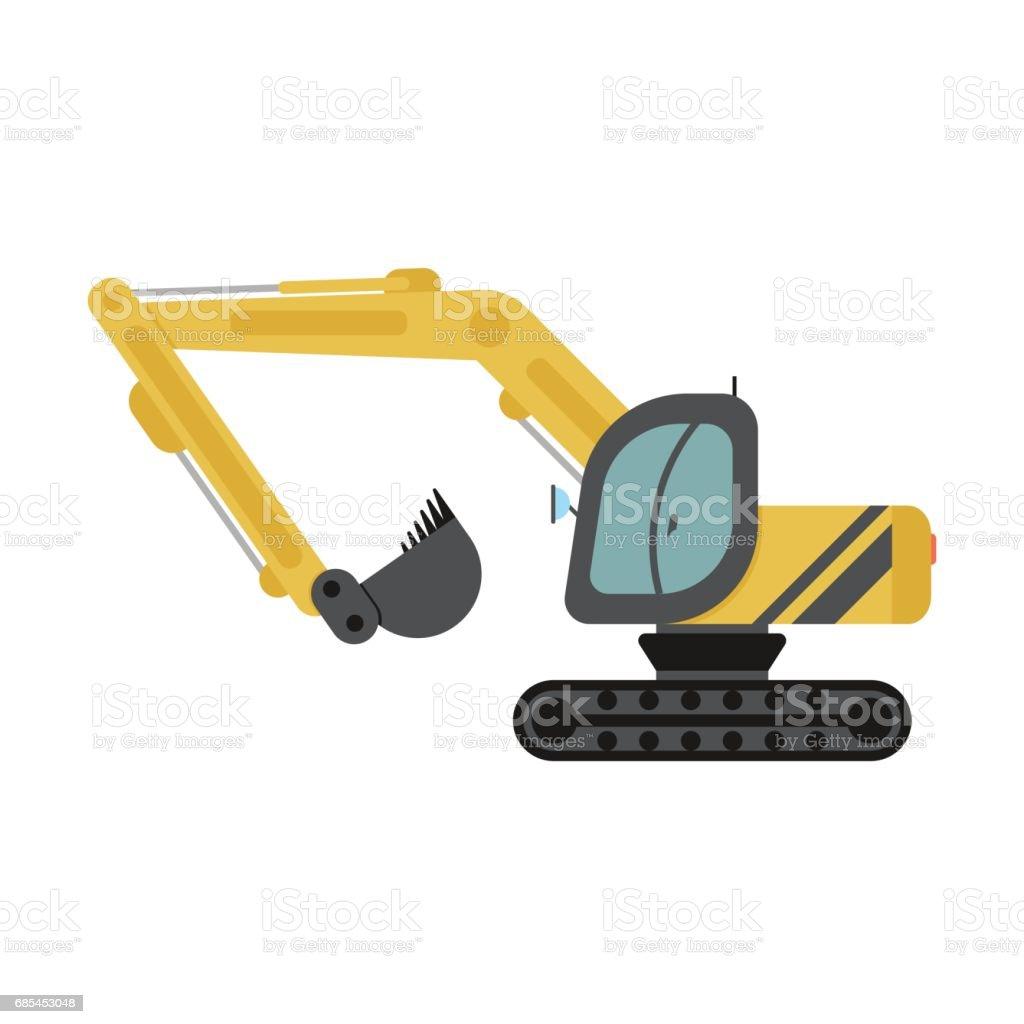 Crawler Excavator Flat Icon crawler excavator flat icon - arte vetorial de stock e mais imagens de amarelo royalty-free