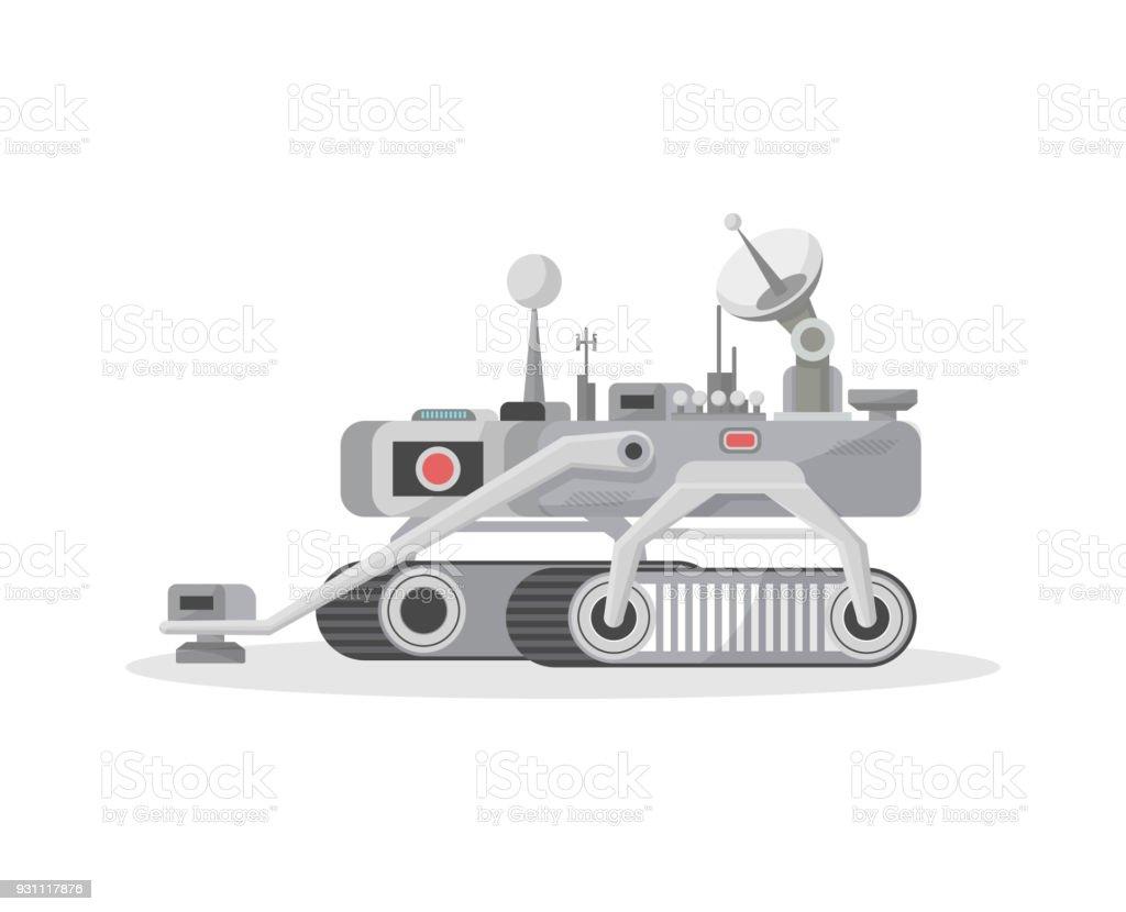 Crawler mars rover isolated vector icon vector art illustration