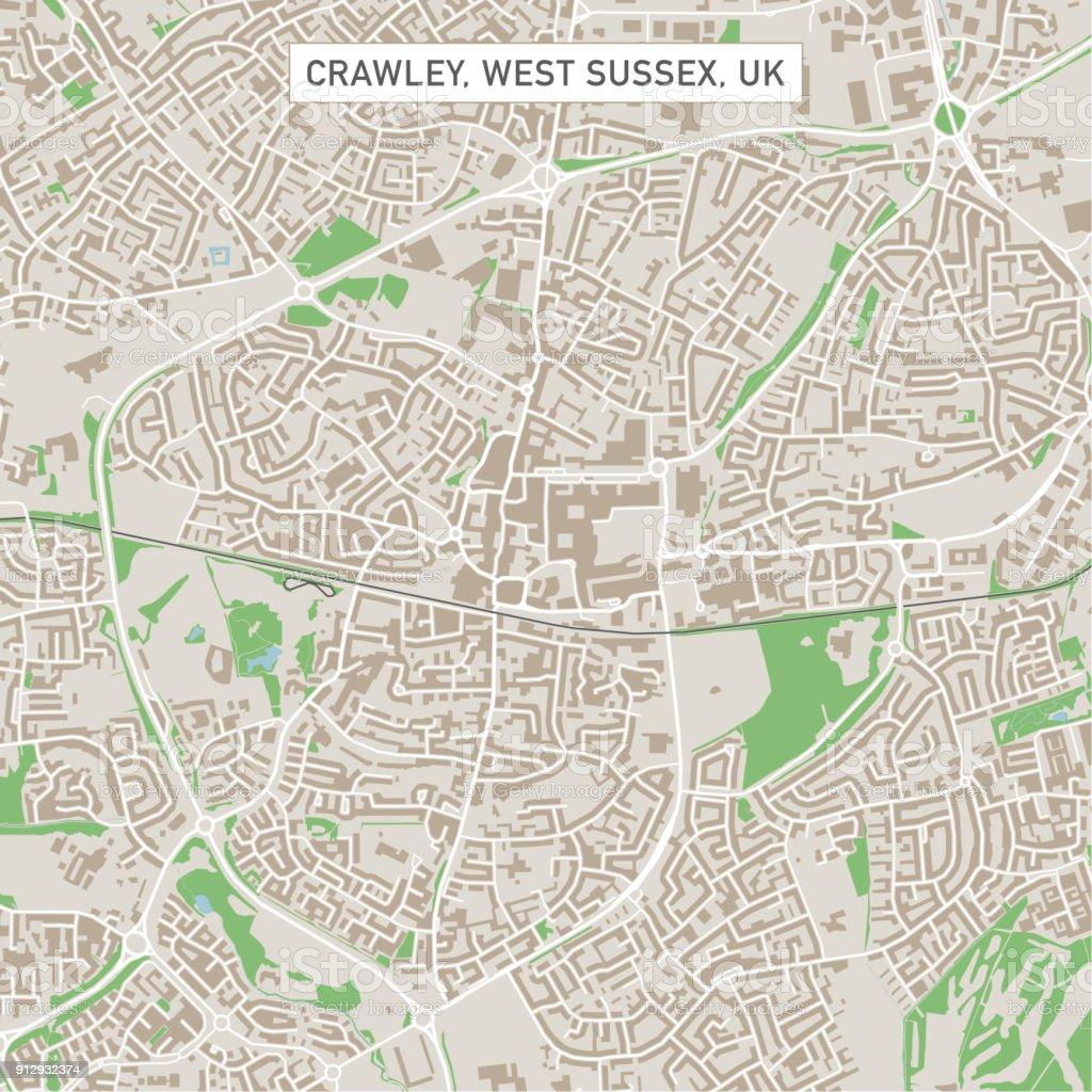 Crawley West Sussex UK City Street Map vector art illustration