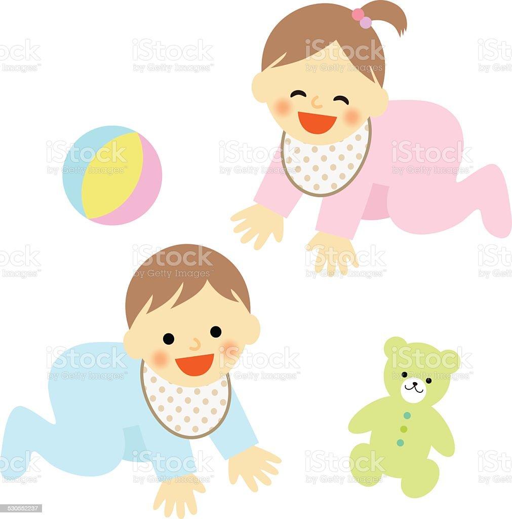 Vetores De Bebes Engatinhando Baby E Mais Imagens De Alegria Istock