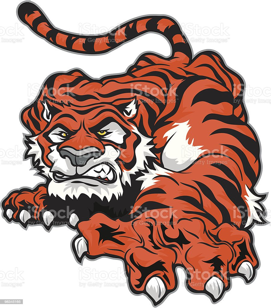 Crawling Tiger royalty-free crawling tiger stock vector art & more images of aggression