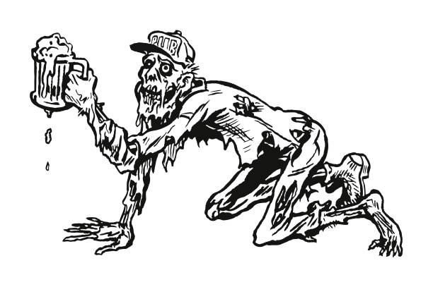 crawling zombie drinking a beer - bachelor party stock illustrations, clip art, cartoons, & icons