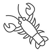Crayfish thin line icon, Fish market concept, lobster sign on white background, crawfish icon in outline style for mobile concept and web design. Vector graphics