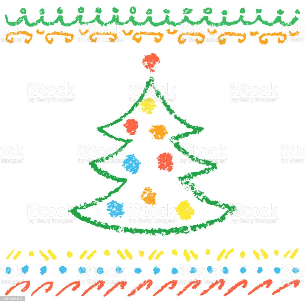 Crayon Childs Drawing Of Merry Christmas Tree With Balls And Pattern On White Royalty