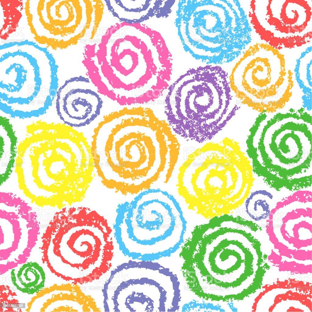 Vetores De Lapis De Cera Colorido Mao Desenho Padrao De Circulos
