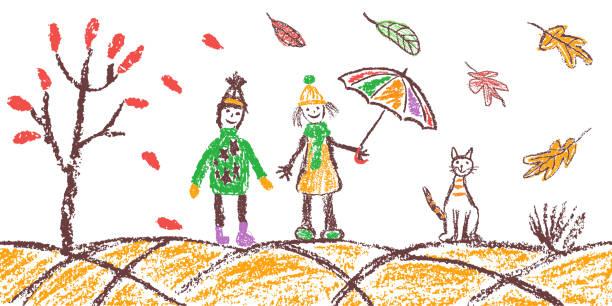 bildbanksillustrationer, clip art samt tecknat material och ikoner med krita hand ritning mysig höst utomhus banner bakgrund. pojke, flicka, katt, träd, paraply, fallande löv på vitt. - children autumn
