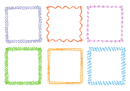 Crayon hand drawing square frames. Set of colorful rectangular ornate design element chalk or pencil like kid`s drawn style.