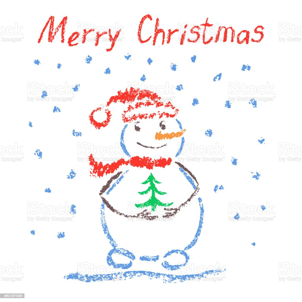 Crayon Like Childs Drawing Merry Christmas Funny Smiling Snowman With Lettering Tree And Falling