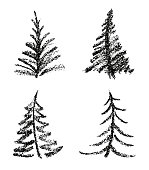 Simple grunge texture fir tree like kids drawn vector funny doodle silhuette.