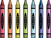 Vector illustration of crayons in a rainbow of colors (red, orange, yellow, green, blue, indigo and violet).