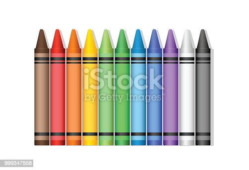 Crayon set on white background in vector format.