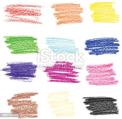 A vector illustration set of crayon strokes. Useful for textured effects.