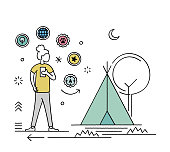 Creative camping and caravanning character illustration for websites, applications, and print. Hand-drawn vector scenes with editable strokes that you can change the lines' size and add colors if needed.