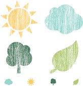 Set of 4 Nature icons with a crayon texture.  Colors can be easily edited.