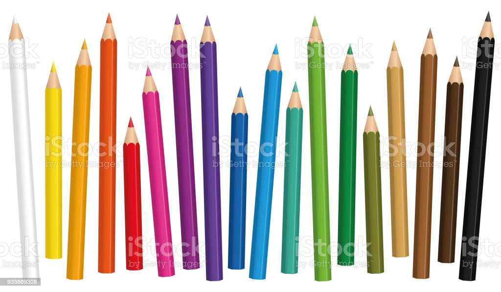 Crayons. Colored pencil set loosely arranged in different lengths - isolated vector illustration on white background. vector art illustration