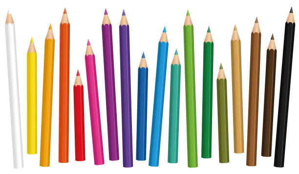 crayons. colored pencil set loosely arranged in different lengths - isolated vector illustration on white background. - ołówek stock illustrations
