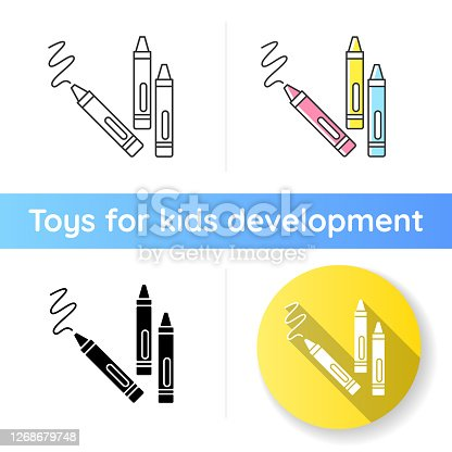 Crayons icon. Wax pencils for drawing. Children creativity and fine motor skills development toys. Color recognition. Linear black and RGB color styles. Isolated vector illustrations