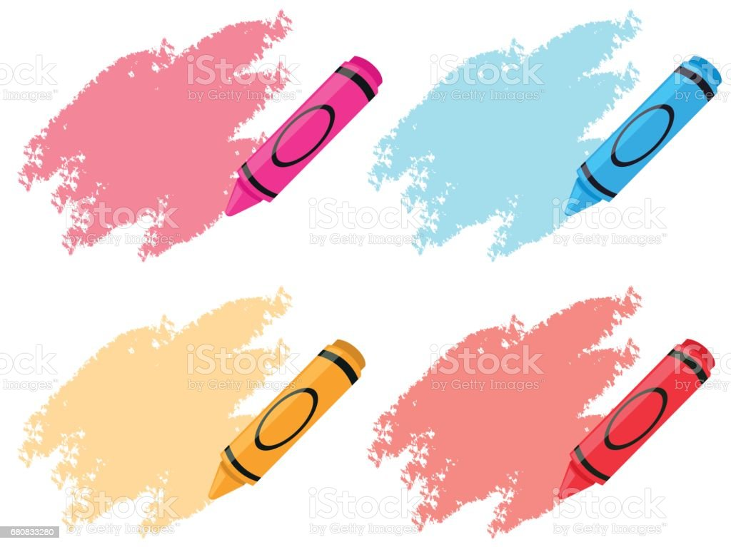 Crayons in four colors vector art illustration
