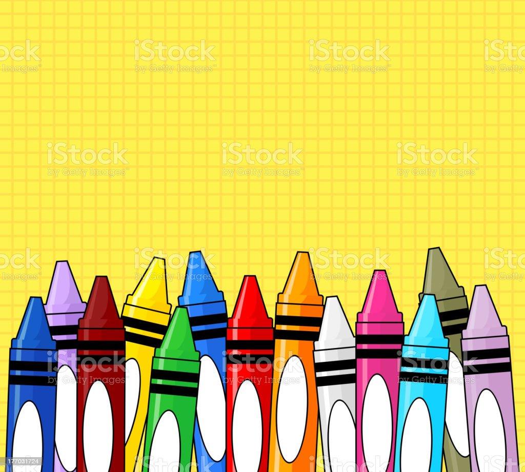 Classroom Wallpaper Design ~ 크레용 그리드 황색 배경 일러스트 istock