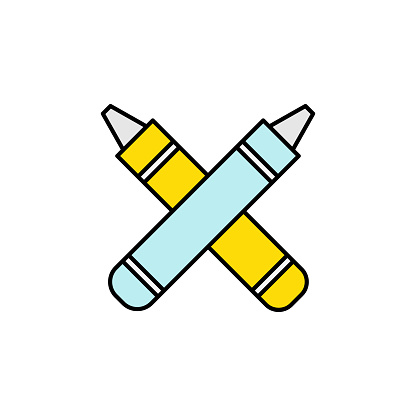 crayons, pen, draw icon. Element of education illustration. Signs and symbols can be used for web, logo, mobile app, UI, UX on white background