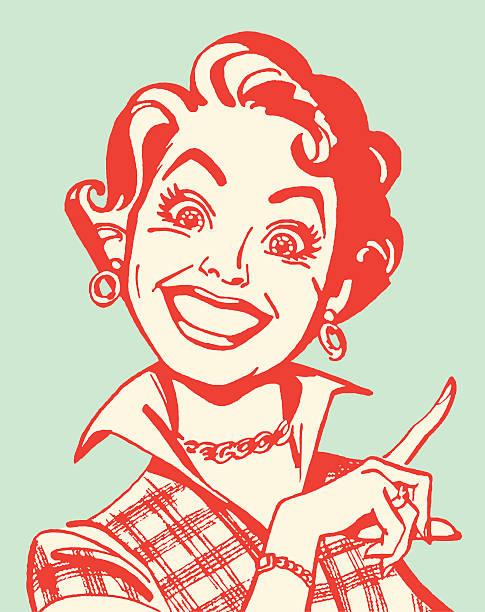 Crazed Woman Pointing vector art illustration