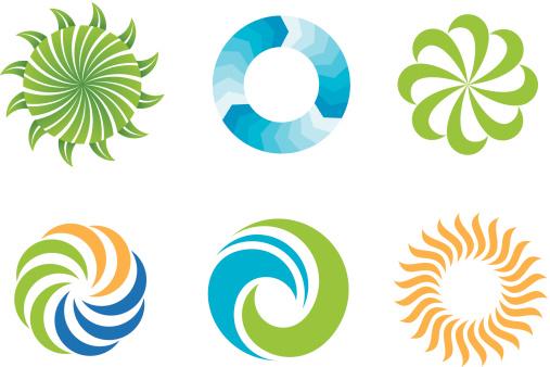 Crazy beautifl green nature circles logo design symbol