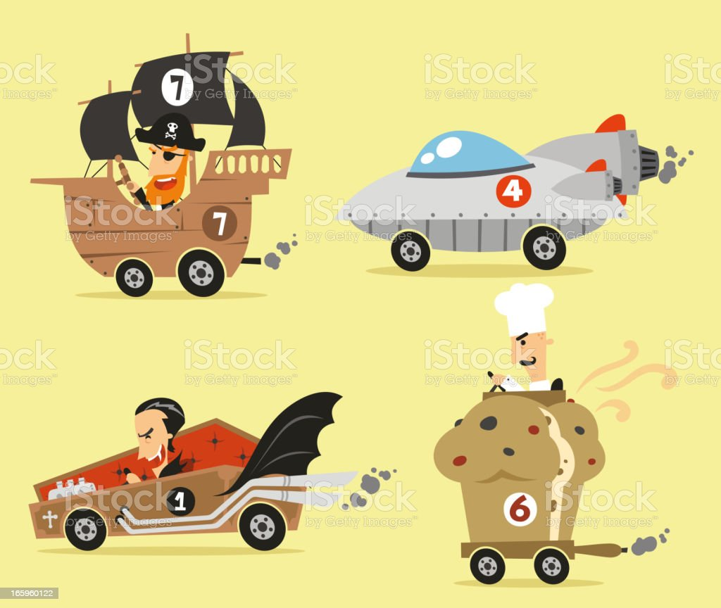 Crazy cars 2 Pirate Ship Space Vampire and cupcake royalty-free stock vector art