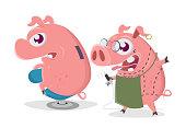crazy cartoon pig is getting a piggy bank tattoo