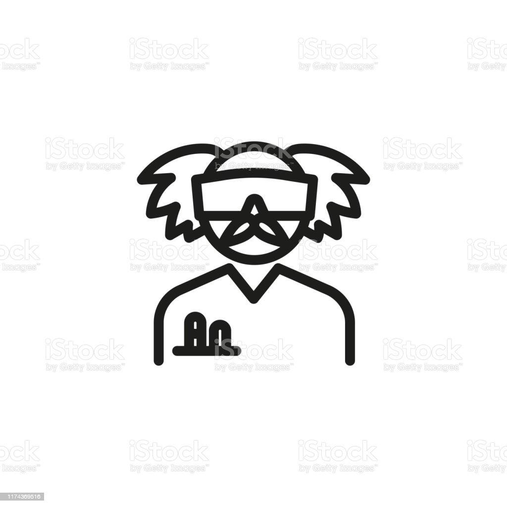 Verrückte Chemiker Linie Symbol - Lizenzfrei Abendkleid Vektorgrafik