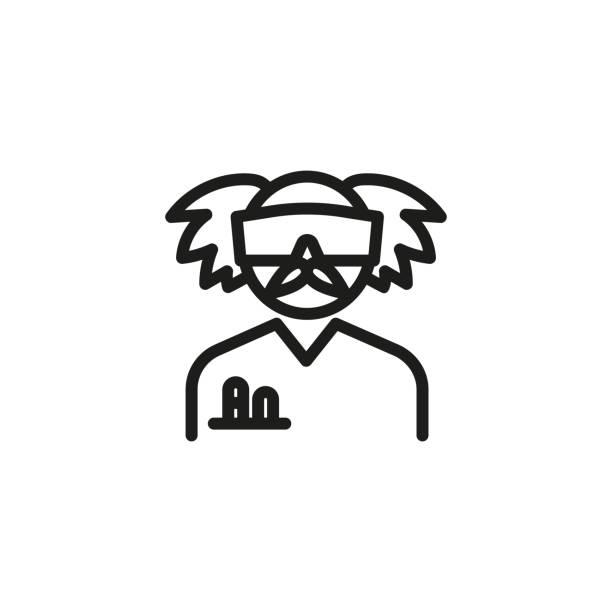verrückte chemiker linie symbol - extravagant schutzbrille stock-grafiken, -clipart, -cartoons und -symbole