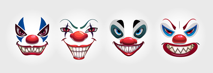 Crazy clowns faces on white background. Circus monsters