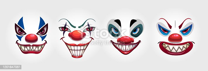 Crazy clowns faces on white background. Circus monsters. Scary evil clown smile. Vector icons set.
