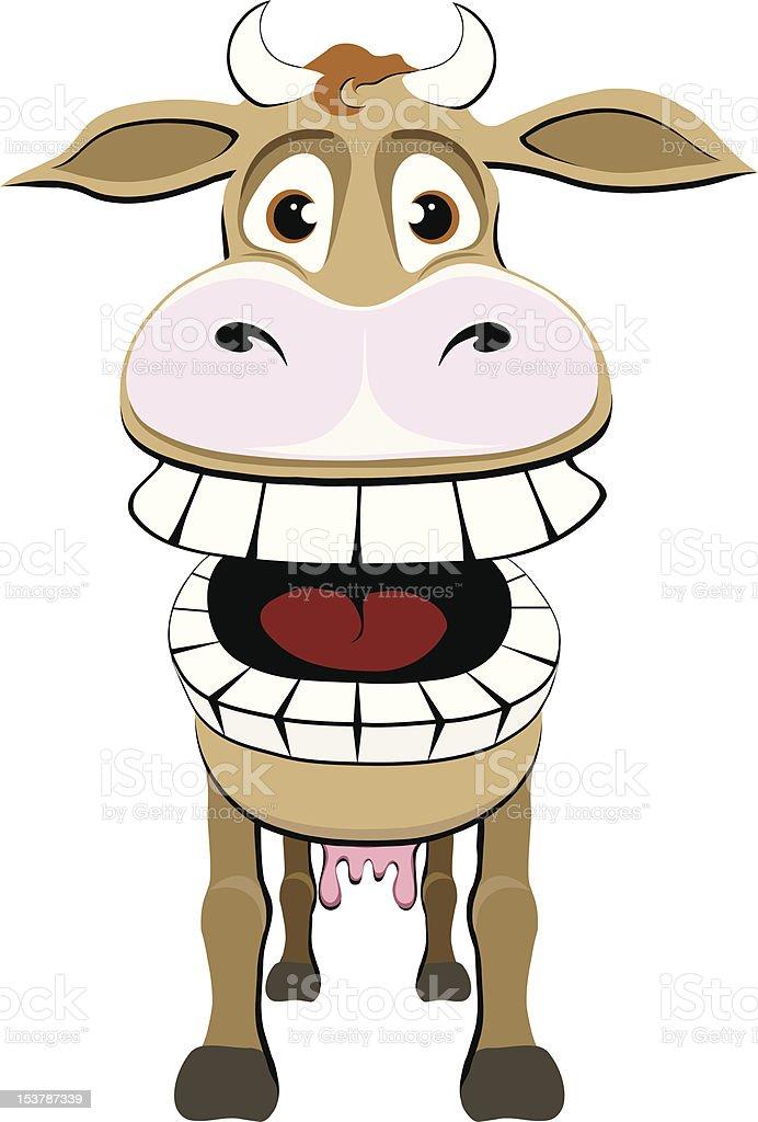Crazy Cow vector art illustration