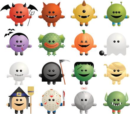 A set of sixteen cute monsters.
