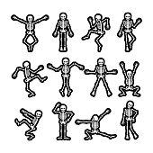 Crazy dancing skeletons stickers set