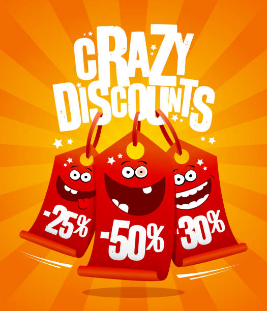 Crazy discounts vector poster concept with madness smiling price tags vector art illustration