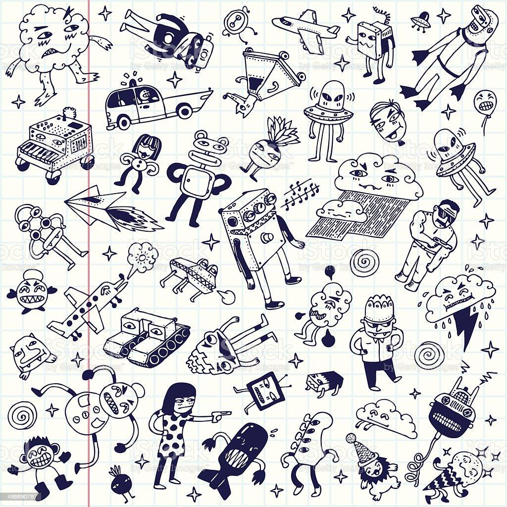 Crazy Doodle School Notebook Mega Set Vector Illustration ...