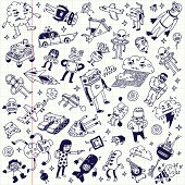 Crazy doodle school notebook mega set. Vector illustration.