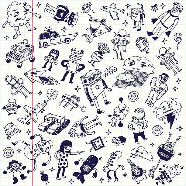 crazy bazgroły szkoły notatnik mega zestaw.  ilustracja wektorowa. - ice cream stock illustrations