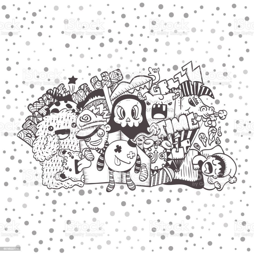 Crazy Doodle The Monster Under Bed Hand Drawn Vector Illustration For Kid T