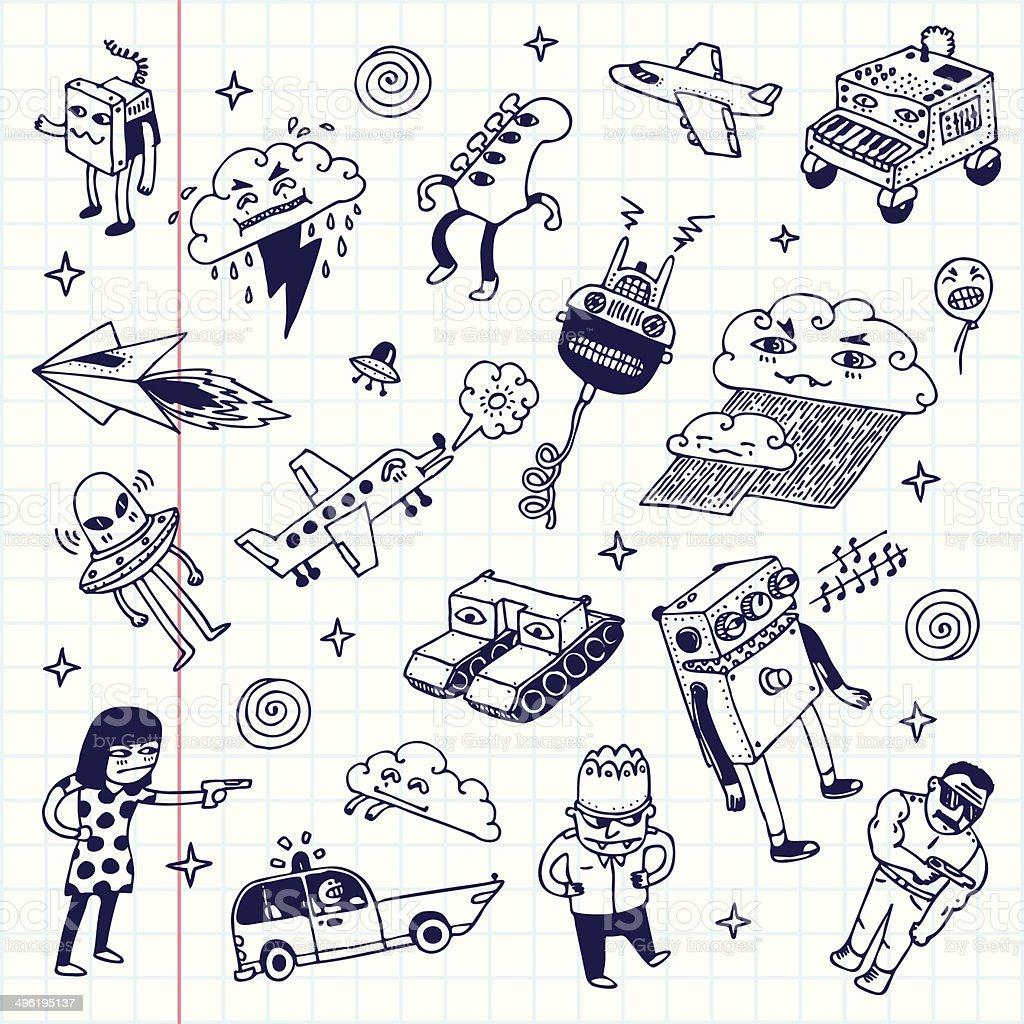 Crazy doodles. School notebook. Vector illustration.