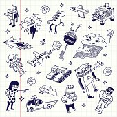 Crazy doodles. School notebook. Vector illustration.