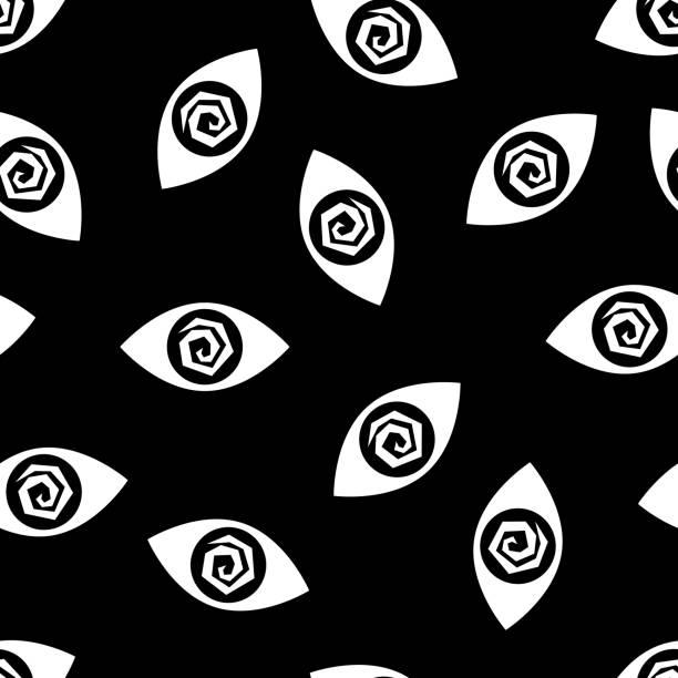 stockillustraties, clipart, cartoons en iconen met gekke silhouetten van het patroon van de ogen - paranoïde