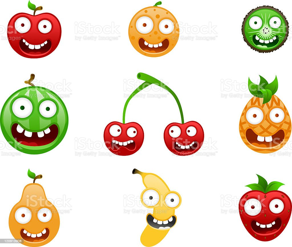 Crazy Fruits royalty-free stock vector art