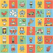Crazy funny colorful doodle icons set. Hand drawn vector illustration.