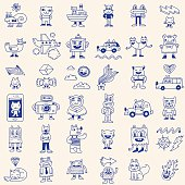 Crazy funny doodle icons set. Hand drawn vector illustration.