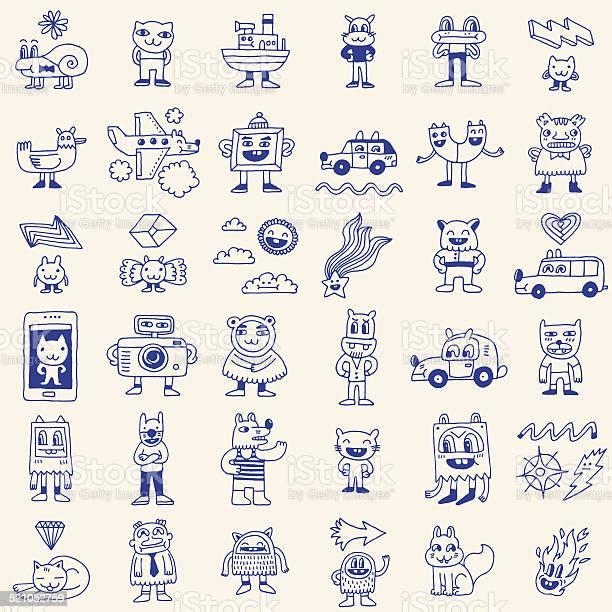 Crazy funny doodle icons set hand drawn vector illustration vector id521052759?b=1&k=6&m=521052759&s=612x612&h=abdzsmkbxw 6cm93yrxq7dbflreb0behgdmg6 ajur8=