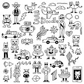Crazy funny doodles set. Hand drawn vector illustration.